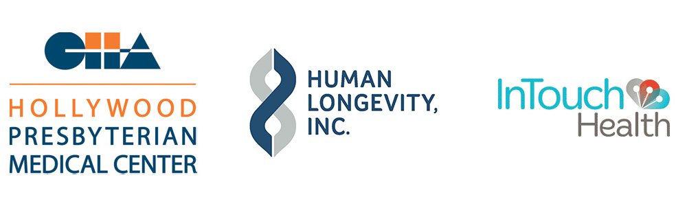 Client logos: Hollywood Presbyterian Medical Center, Human Longevity, Inc., InTouch Health