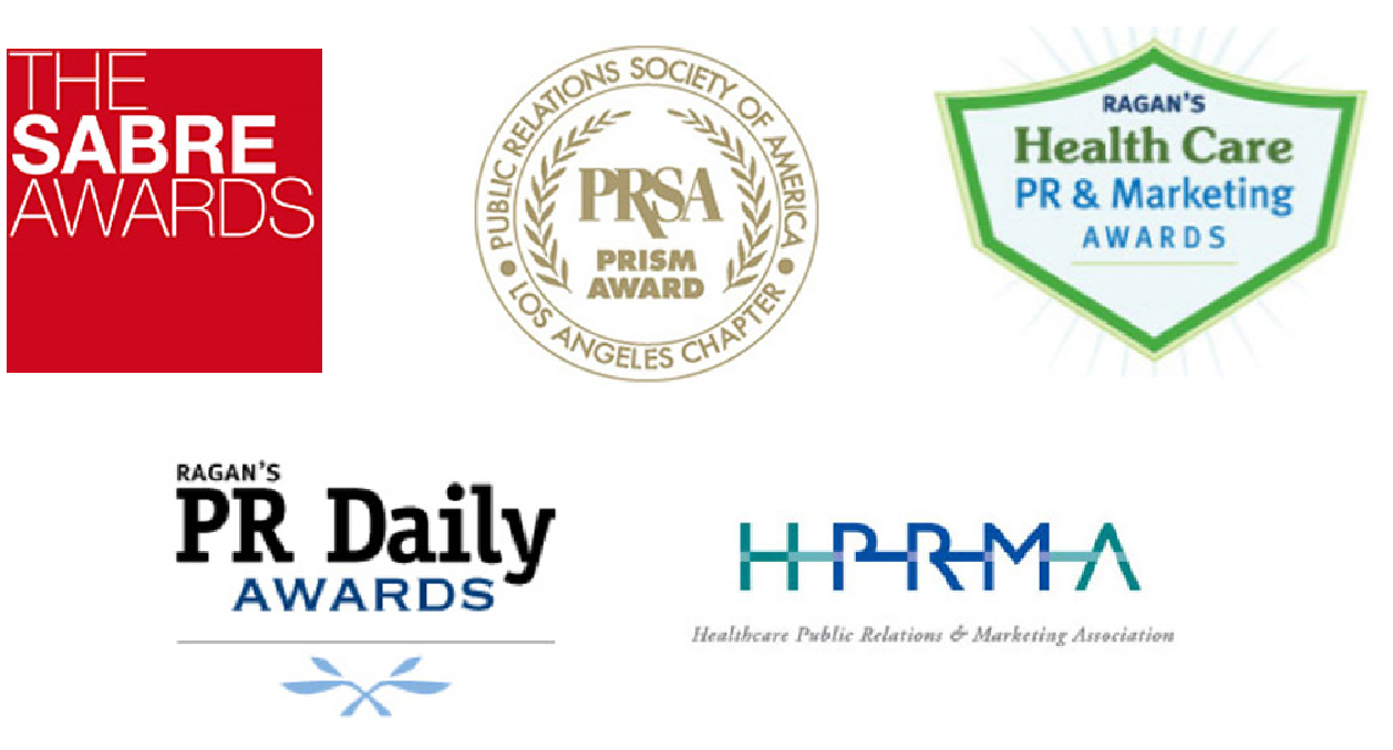 Award logos: The SABRE Awards, PRSA Prism Award, Ragan's Health Car PR & Marketing Awards, Ragan's PR Daily Awards, Healthcare Public Relations & Marketing Association