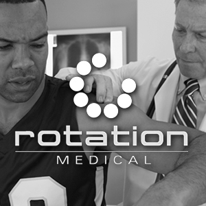 Rotation Medical logo over a photo of a doctor and patient