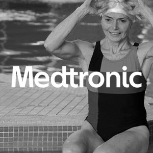 Medtronic Diabetes Group logo over a photo of a swimmer