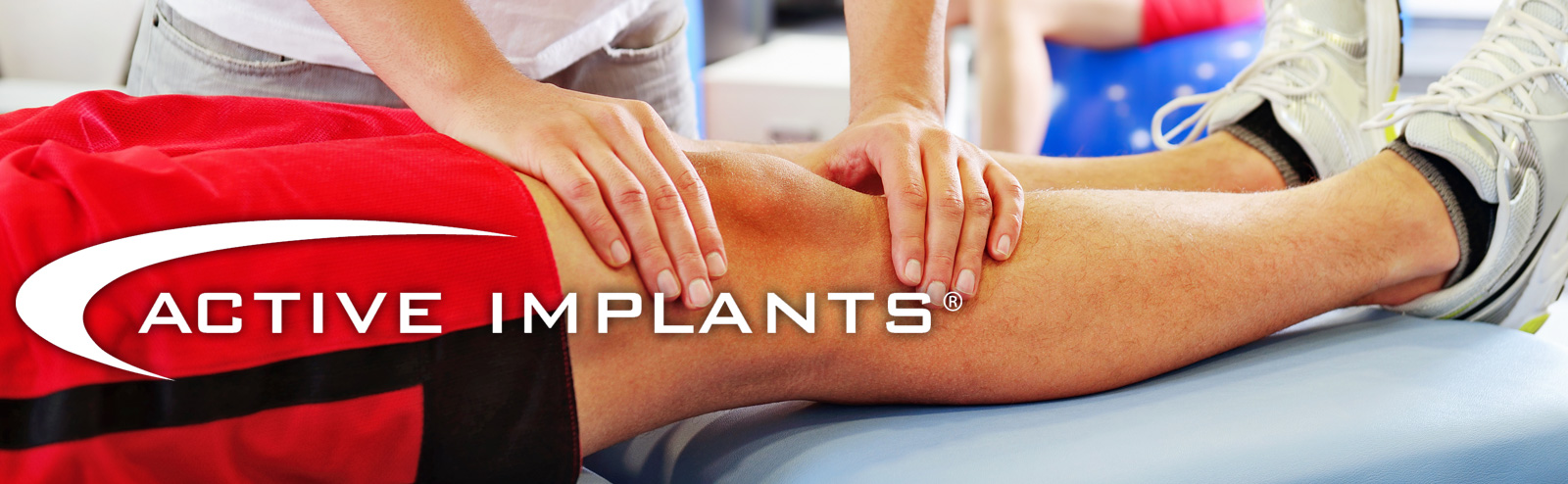 Active Implants logo over an image of a doctor examining a patient's knee